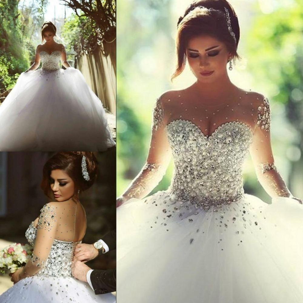 2018 Long Sleeve Wedding Dresses With Rhinestones Crystals