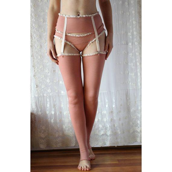 Washable Wool Stockings With Garter Belt By Sandmaidensleepwear