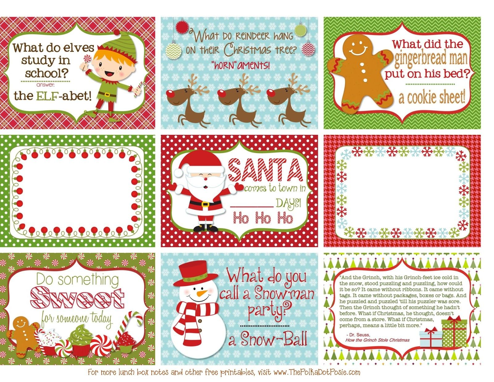 Free Printable Christmas Lunch Box Notes From