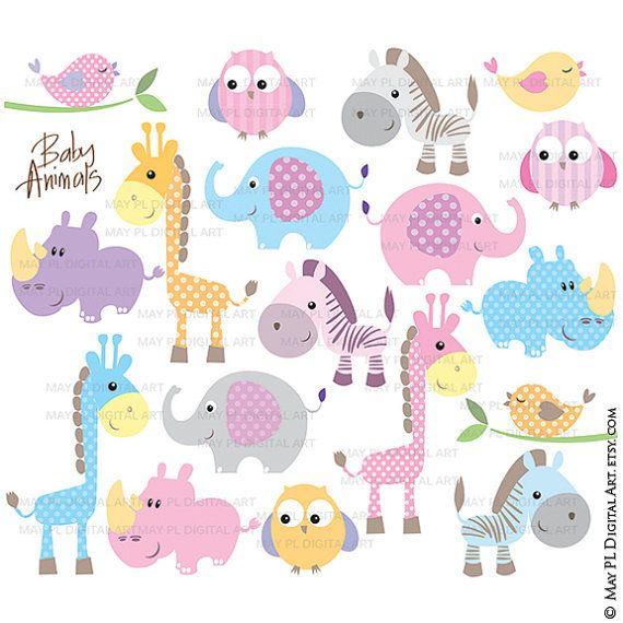Baby Animals Clipart DIY Baby Shower Pastel par MayPLDigitalArt  Elise  Pinterest  Dessin