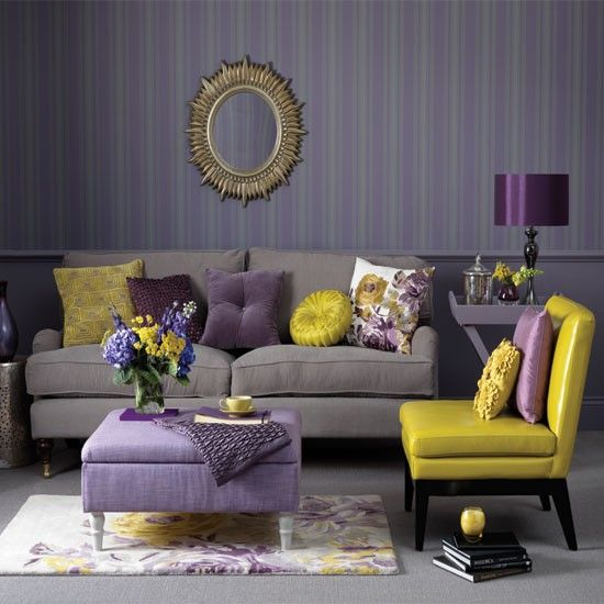 Amethyst living room  Gold sunburst mirror Living room