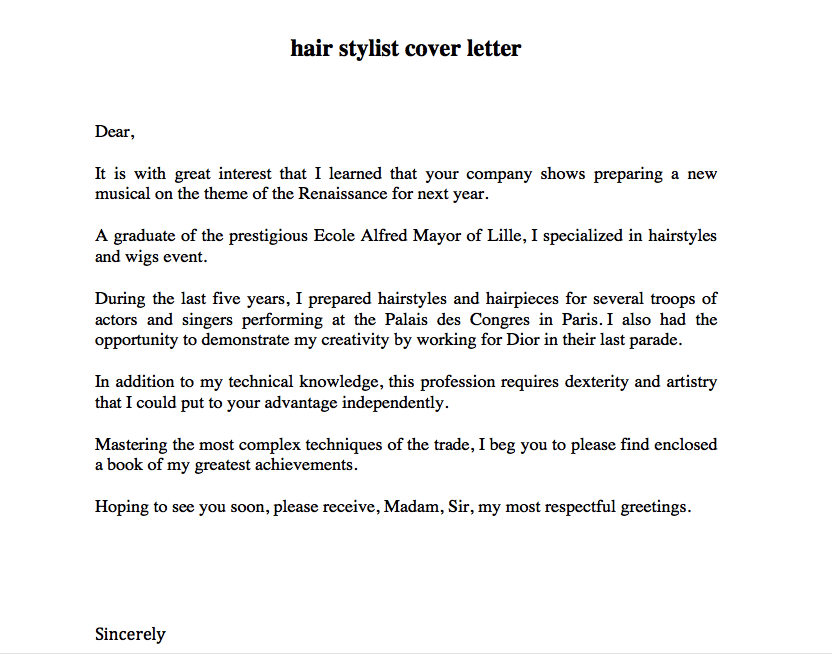 Hair Stylist Resume Cover Letter