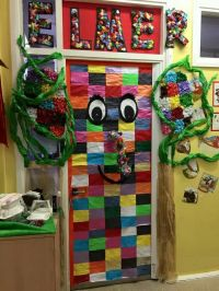 Some creative school decorating classroom doors as book