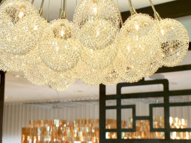 This One Of A Kind Gold Bubble Chandelier Fits Perfectly In Mod