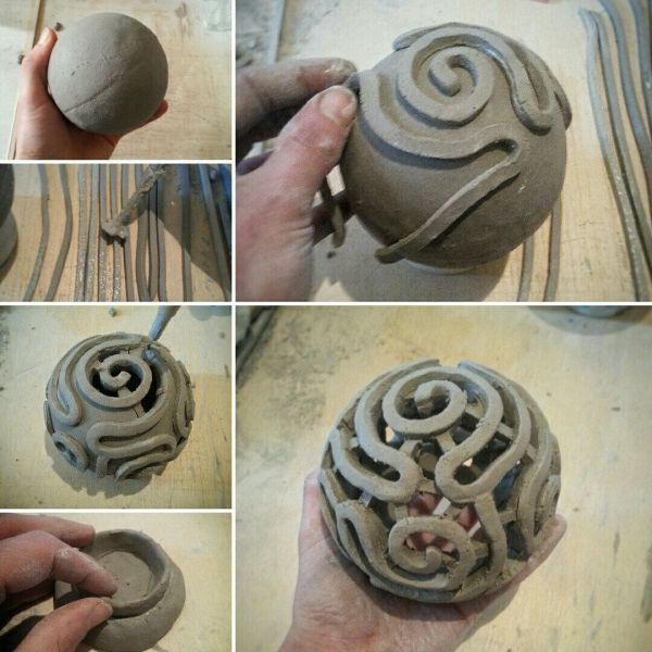 Portacandele In Ceramica Raku Corallo Cervello Lanterna