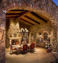 ,Big stone fireplace with dining | Bedroom | Pinterest ...