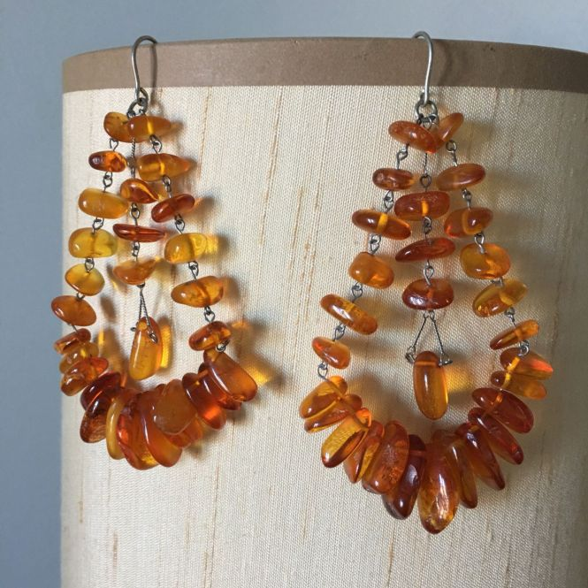 Vintage Real Baltic Amber Large Chandelier Earrings By Aniadesigns On Etsy