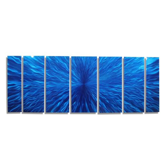 Extra large modern metal wall art sculpture in blue abstract also rh pinterest
