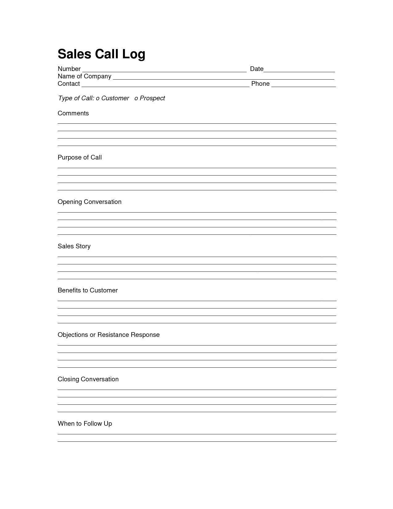 Sales Log Sheet Template