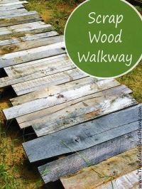 Create this simple scrap wood walkway in your yard. It's a ...