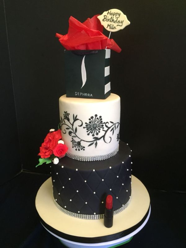 Sephora Cake - Birthday Make- Lipstick Black Red White Theme