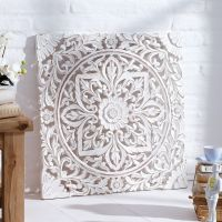 Carved Wooden Wall Panel, Distressed White: Amazon.co.uk ...