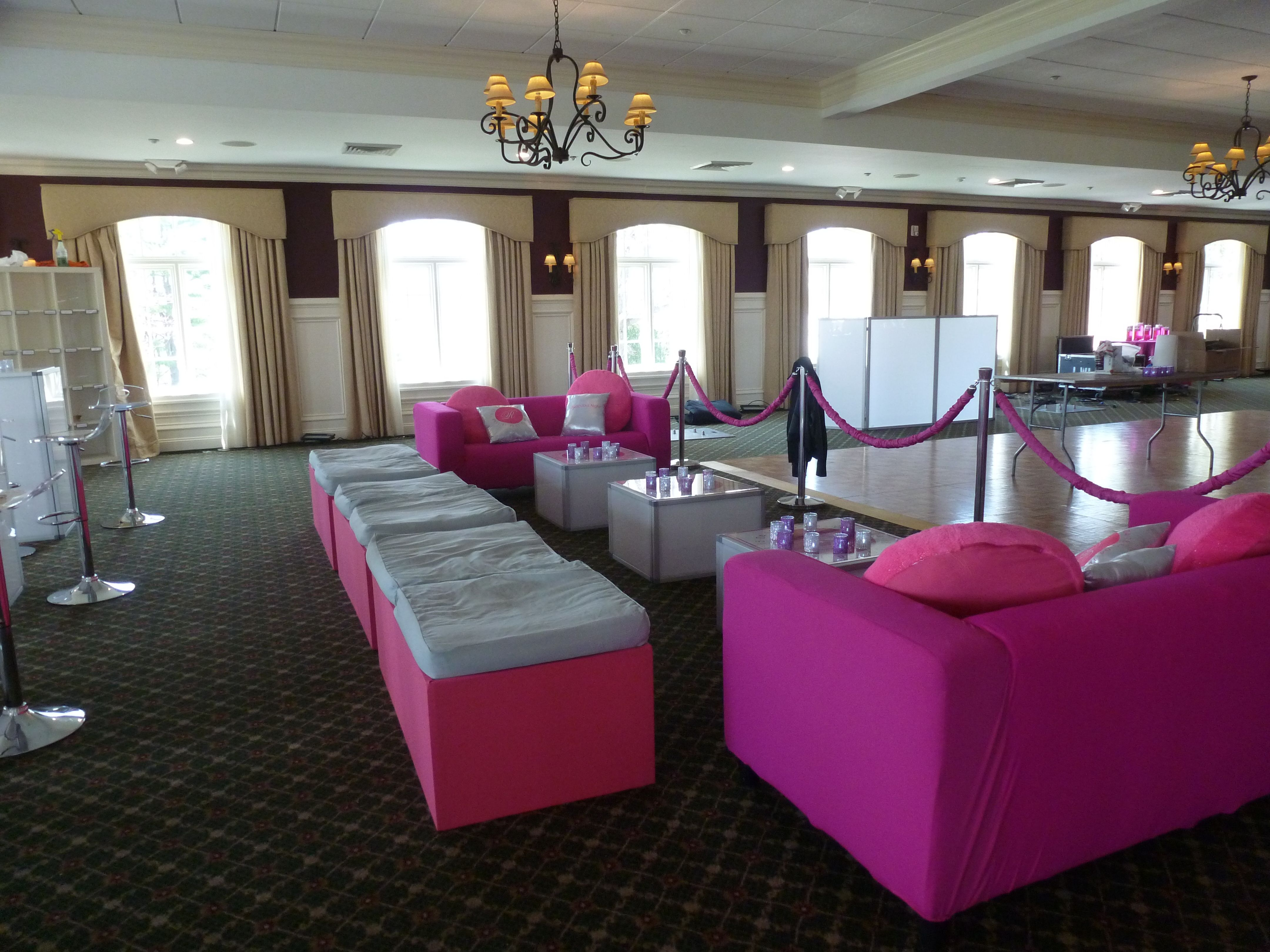 sofa expo vip upholstery pillows hot pink and silver bat mitzvah lounge