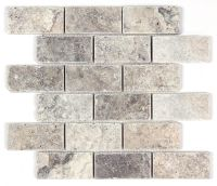 Silver Travertine Tumbled 2x4 Mosaic Tile   Kitchen ...