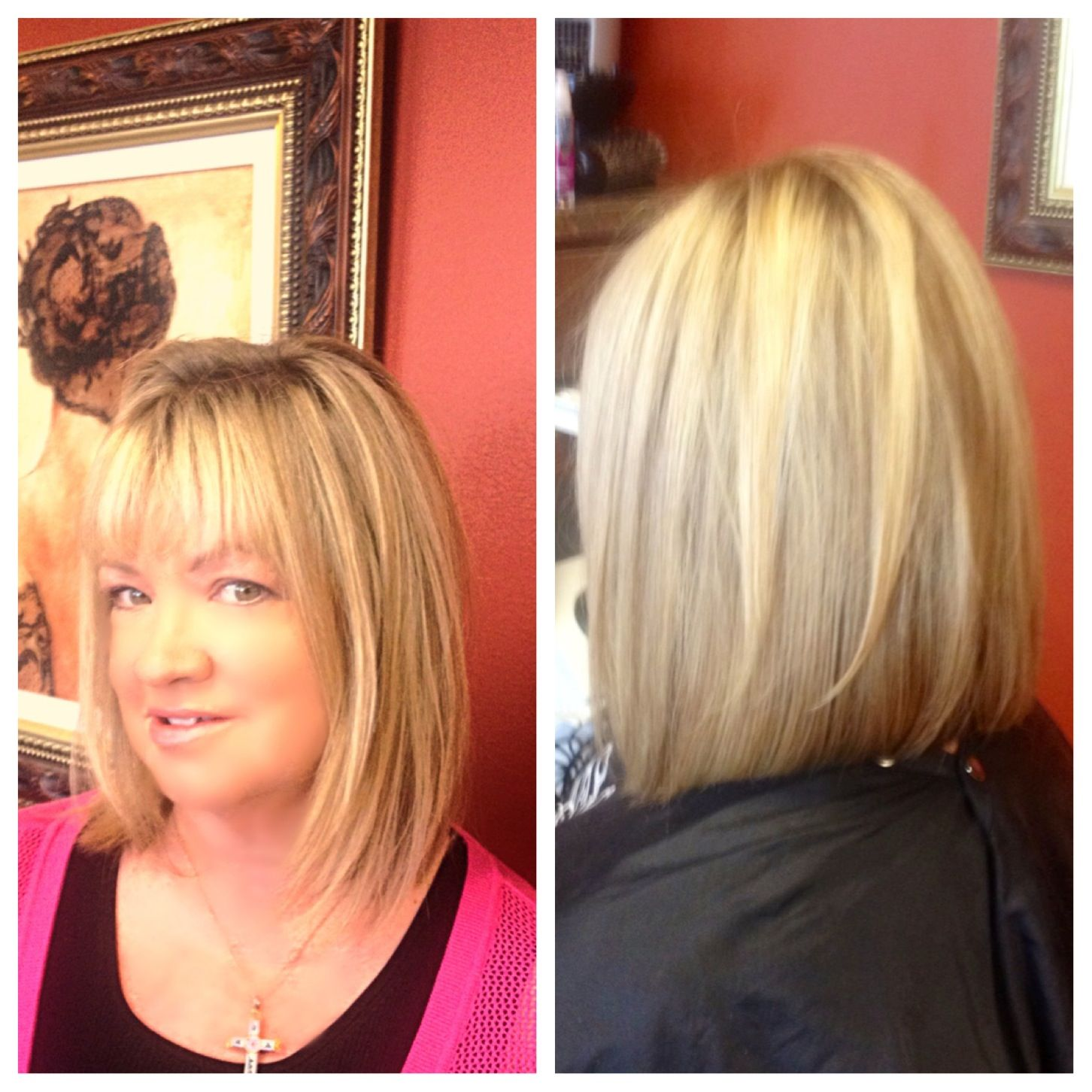 Long bob with light layers slightly inverted Great for
