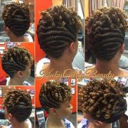 nice flat twists updo - black hair