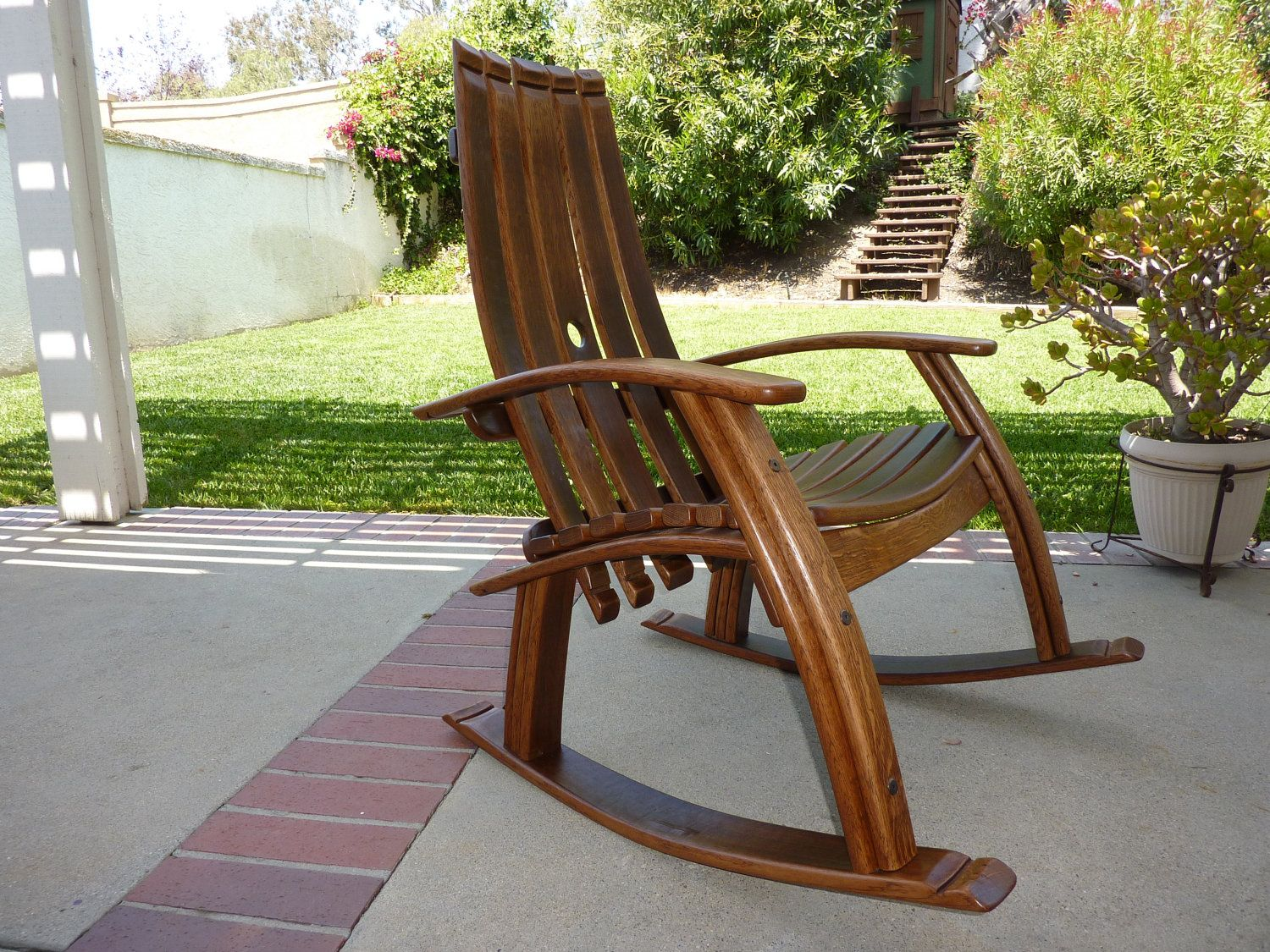 rocking chair woodworking plans high restaurant style wine barrel barrels and chairs