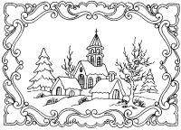 winter scene coloring pages for adults - Google Search ...