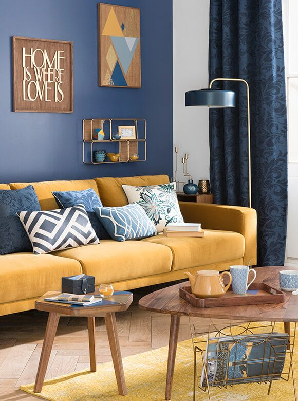 Tendencia decorativa portobello ideas de decoracion  compras maisons du  living room decor yellow colorsblue also rh pinterest