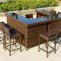 Outdoor Bar Table And Chairs Henriksdal Chair Cover Ikea Uk Large 39u 39 Shape In Mixed Brown Rattan With Stools