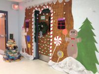 Gingerbread house for door decorating contest | Christmas ...