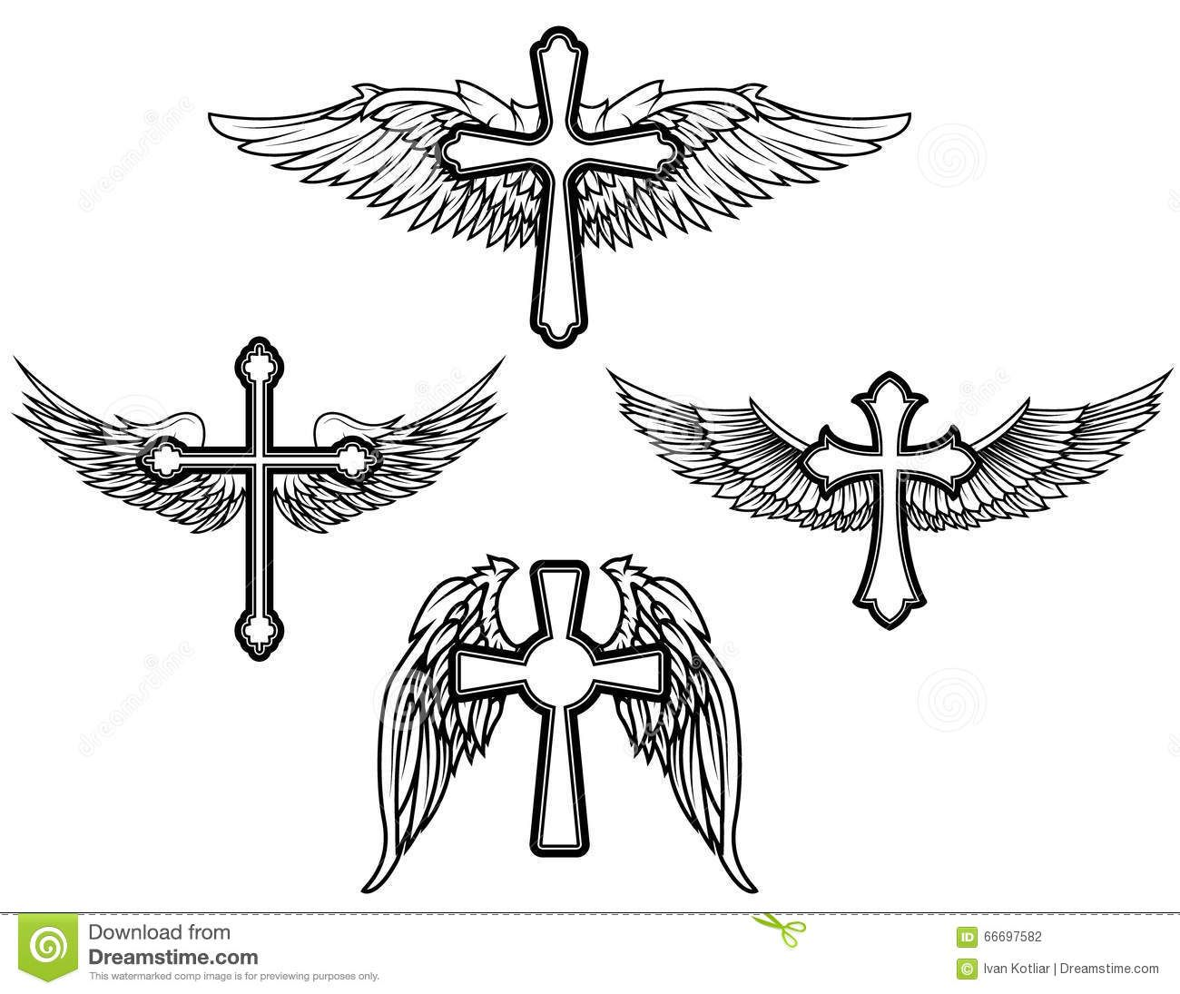 Set Cross Wings Vector Tattoo Design Elements