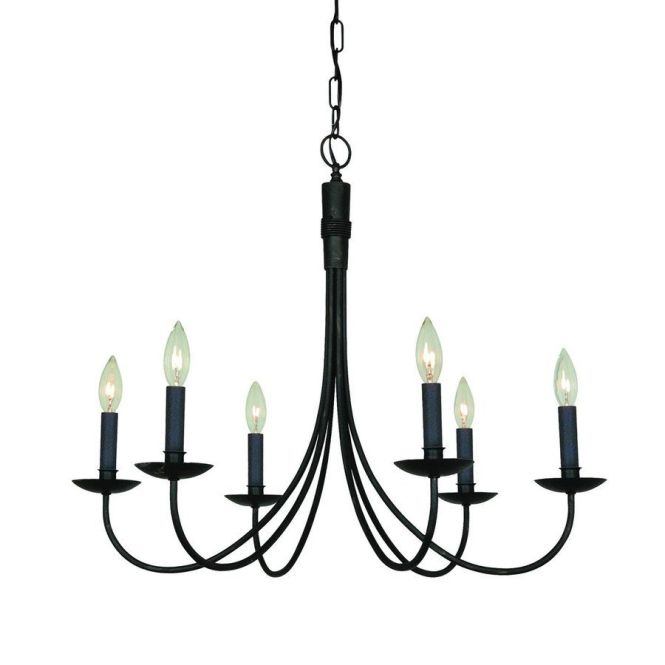 Artcraft Lighting Wrought Iron 28 In 6 Light Ebony Black Candle Chandelier Ac1786eb