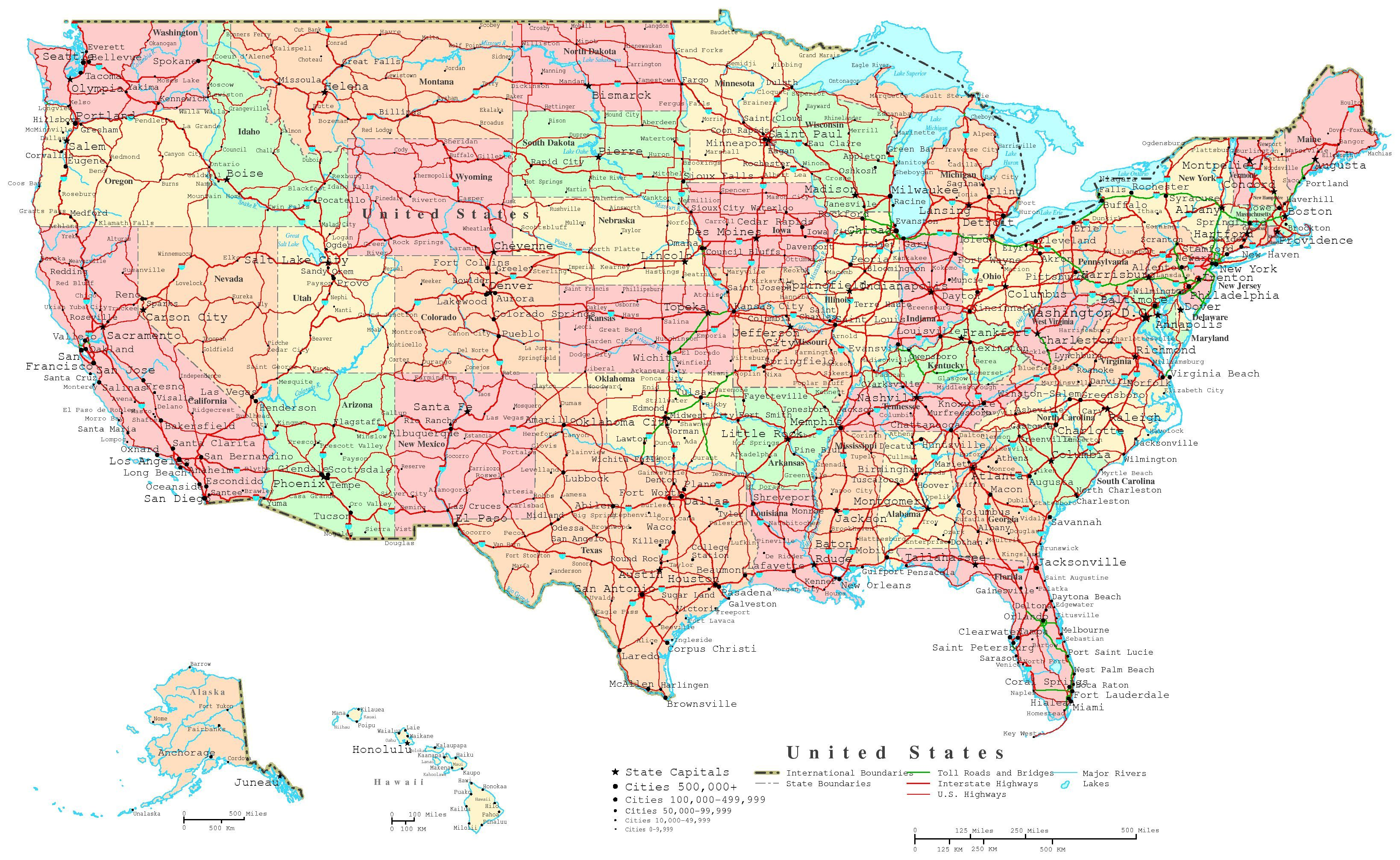 11x17 Map Of United States