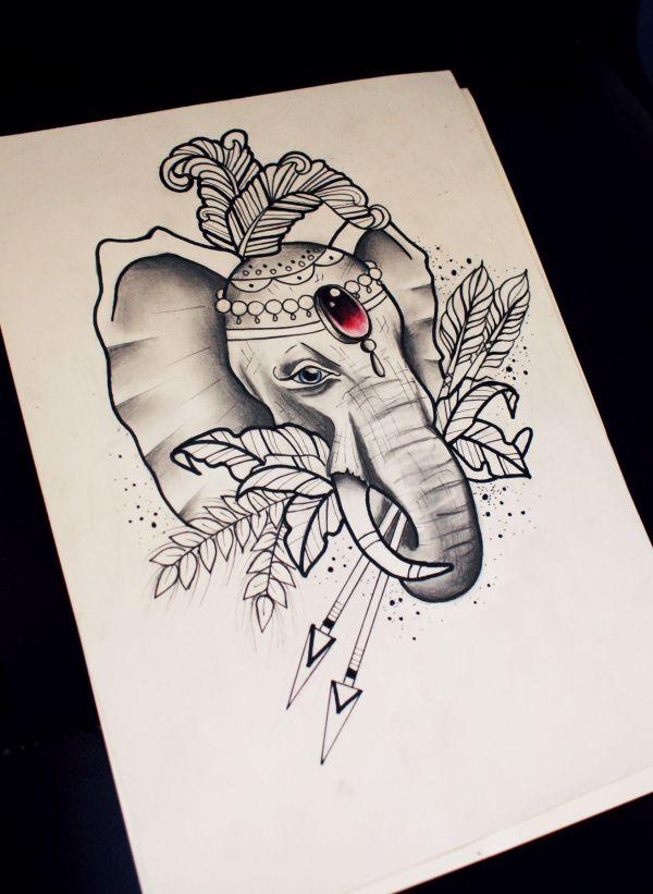 Neo Traditional Elephant Sketch. Benea Art Sketch