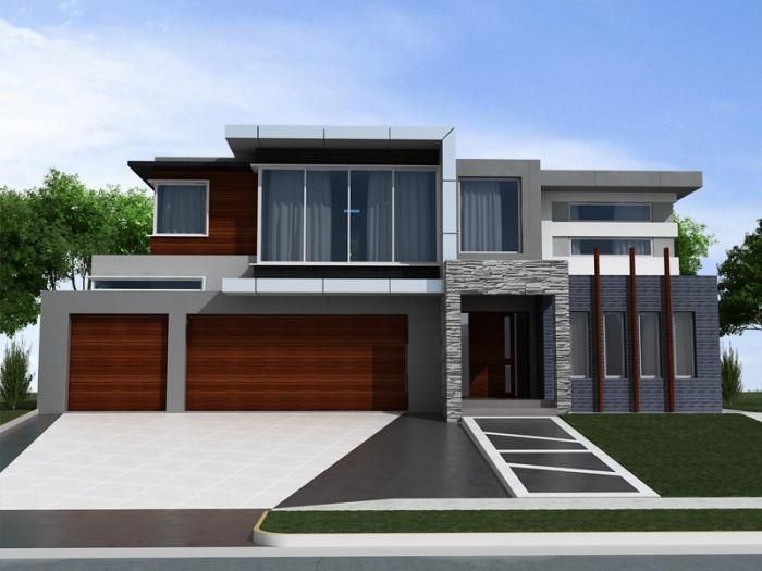 Decorations Dark Gray Exterior House Color With Modern Wooden