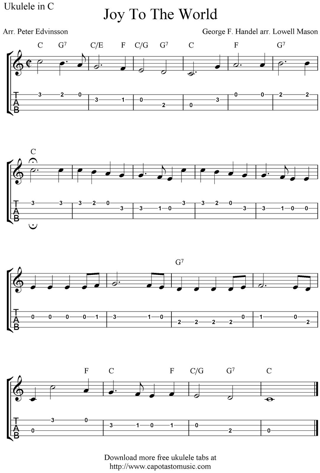 Free Sheet Music Scores Joy To The World Free Christmas Ukulele Tab Sheet Music