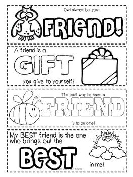 Friendship Printable Bookmarks to Color @ TPT from Cari