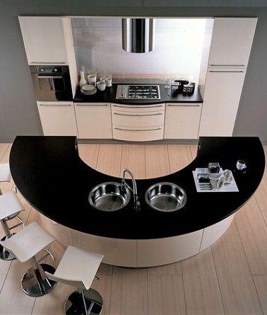 Espace Cuisine Moderne Avec Ilot Central Rond