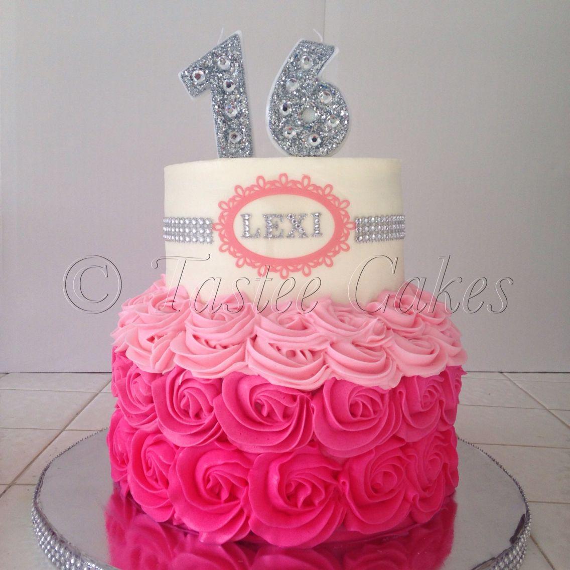 Bling Cake 16th Birthday Pink Cake Rosettes Teenage