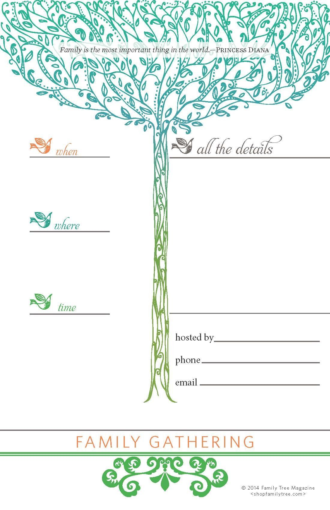 Family Reunion Invitations Signs And Nametags