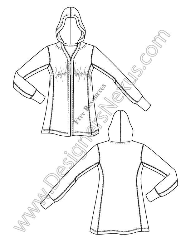 V3 Knit Hoodie Illustrator Fashion Technical Drawing