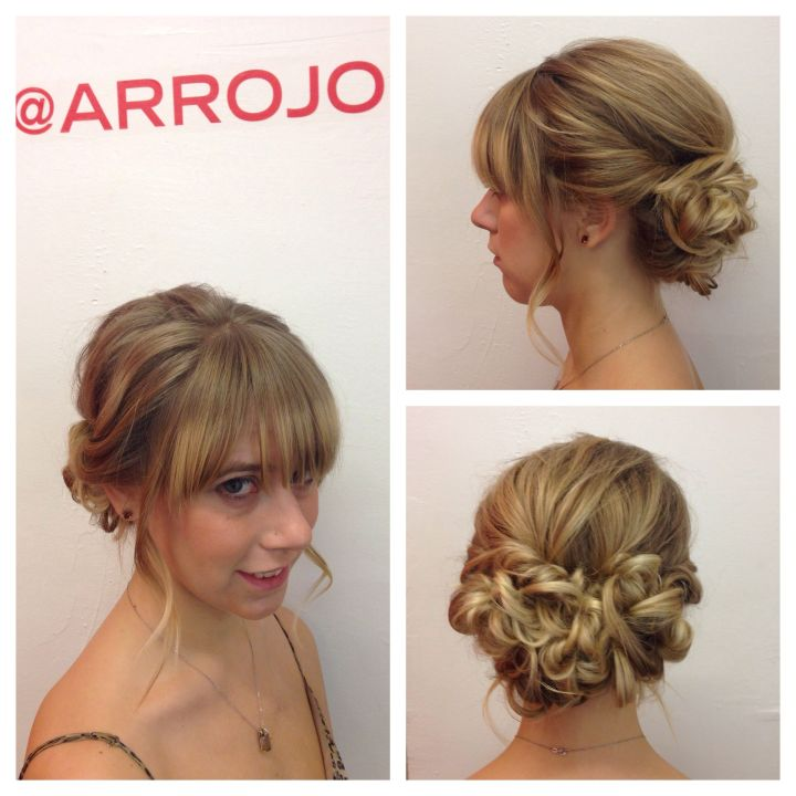 Romantic low bun updo blond hair hairstyles for mid length