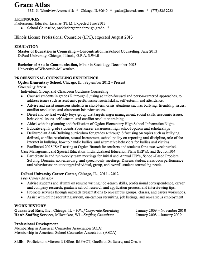 School Counselor Resume Sample Resumesdesign Com School