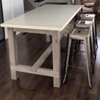 DIY harvest table kitchen island with white quartz counter ...