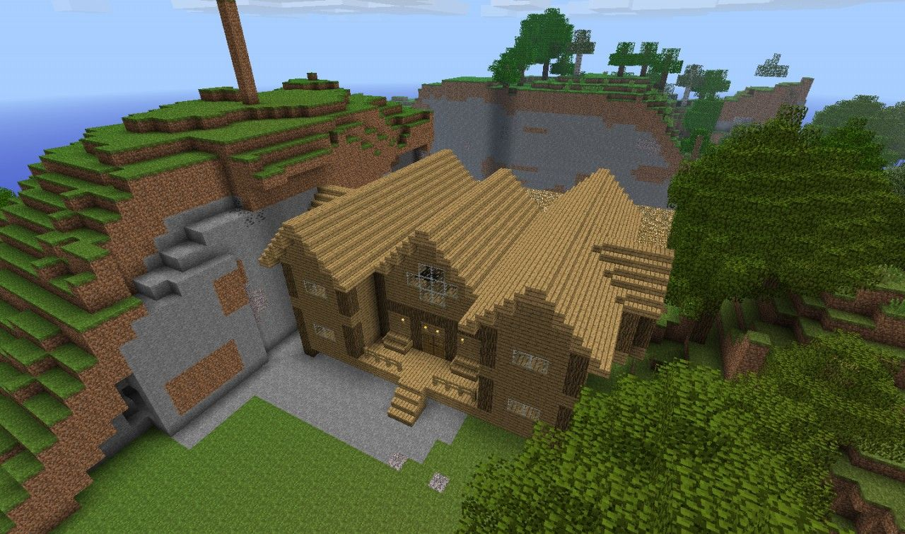 1st Wood House Minecraft Project Minecraft Pinterest