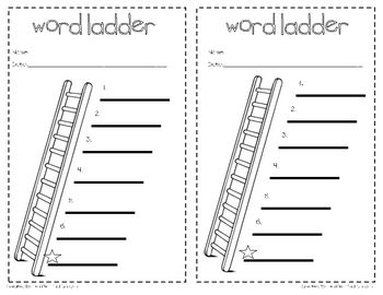 This is a simple 1/2 sheet word ladder recording page for