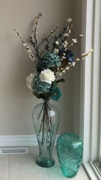 Sea glass floor vase with flowers. | Home Decor ...