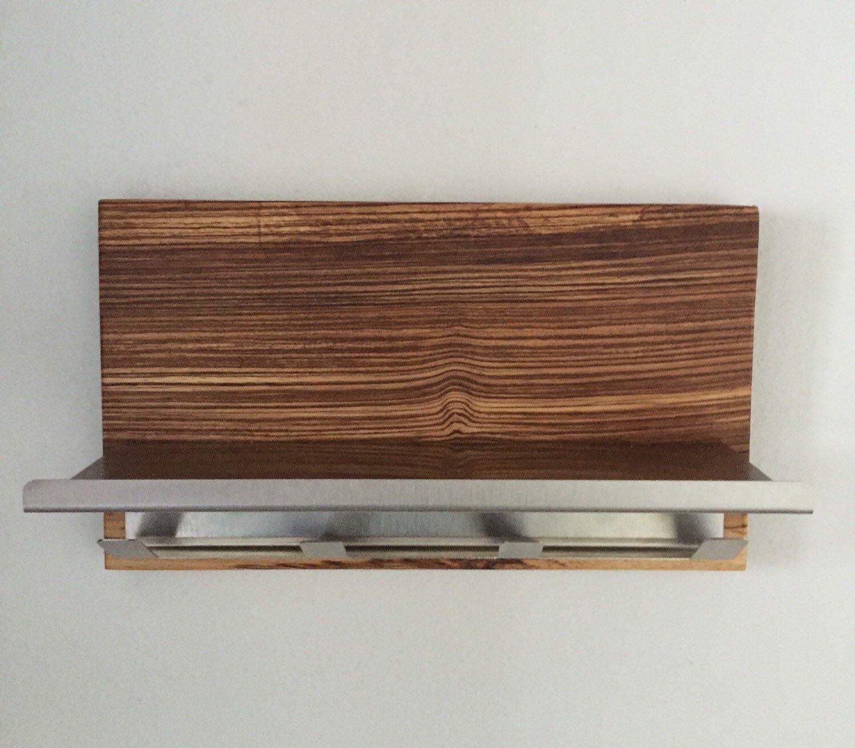 NEW Modern, zebra wood stainless steel magazine rack mail