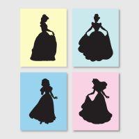Girls room decor - Wall Art - Disney Princess Silhouette ...
