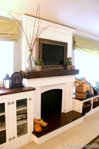 reclaimed wood framed TV with mantel to hide the cords ...