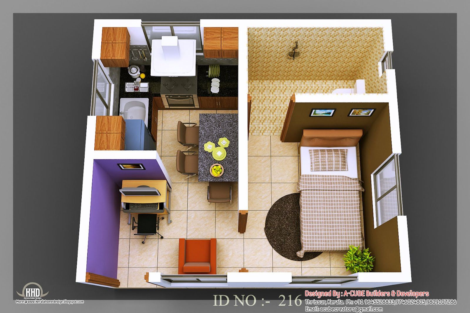 Isometric Views Small House Plans Kerala Home Design Floor