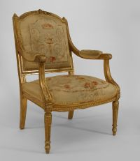 Pair of French Louis XVI style (20th Cent) square back ...