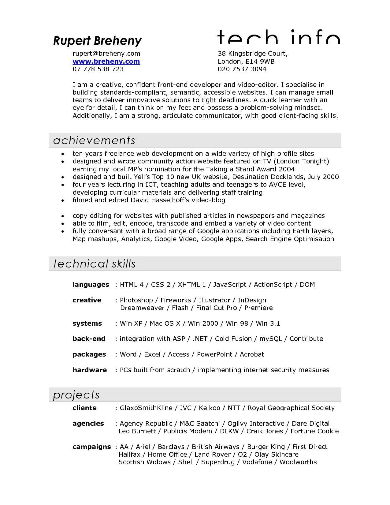 Film Resume Examples Sample Video Filmmaker For Crew Production