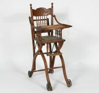 Antique Victorian children\'s oak high chair converts to ...