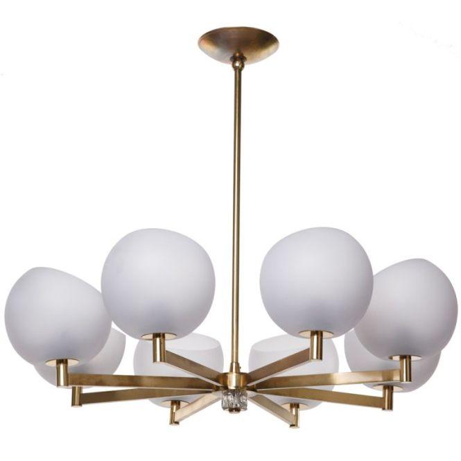 Brass And Glass Globe Chandelier